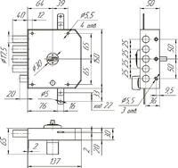 ЗН 4 032.0.1 (ключ-кл.),сувальдный,4 ригеля,задвижк.)5кл. Меттэм